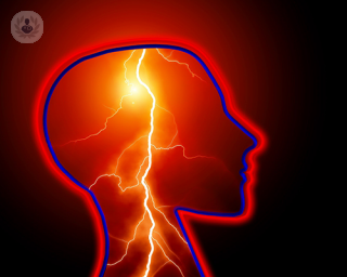 A lighting bolt within the outline of the human head to symbolize a seizure