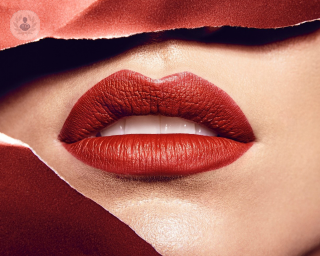 Close up of red lips
