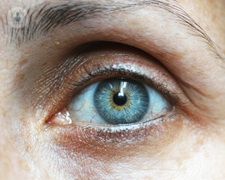 A close up of a blue eye. With untreated glaucoma, a patient can go blind. However, this condition is easily treated once discovered.