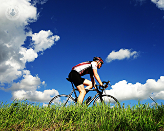Man cycling in countryside