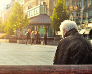 Old man sits on bench