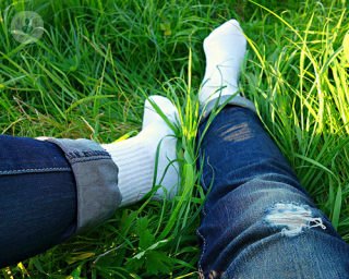 Legs in the grass