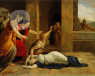 woman fainting in painting