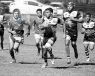 rugby team in action