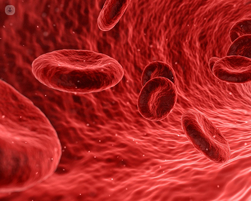 An image of red blood cells circulating in the blood. These are affected by haemoglobinopathies.